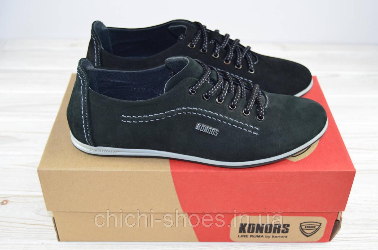 Туфли мужские Konors 655-3-1 чёрные нубук на шнурках