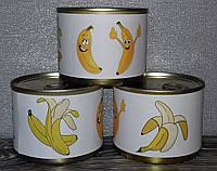 Подарочные носки в консервной банке. Носки с бананами. Подарок девушке маме подруге дочке куме