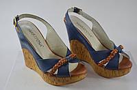 Босоножки женские Mariposa 187 синие кожа, фото 1