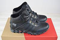 Ботинки подростковые зимние KONORS 943-33-8-1 чёрные кожа на шнурках