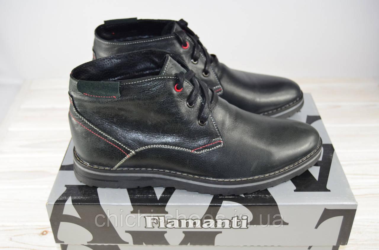 Ботинки мужские зимние Flamanti 930 чёрные кожа на шнурке (последний 40 размер)