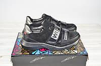 Туфли женские спортивные Eclipse 580-28 чёрные кожа-замша шнурок + 2 липучки, фото 1