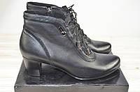 Ботильоны женские демисезонные Blizzarini  309-324-4 чёрные кожа каблук, фото 1