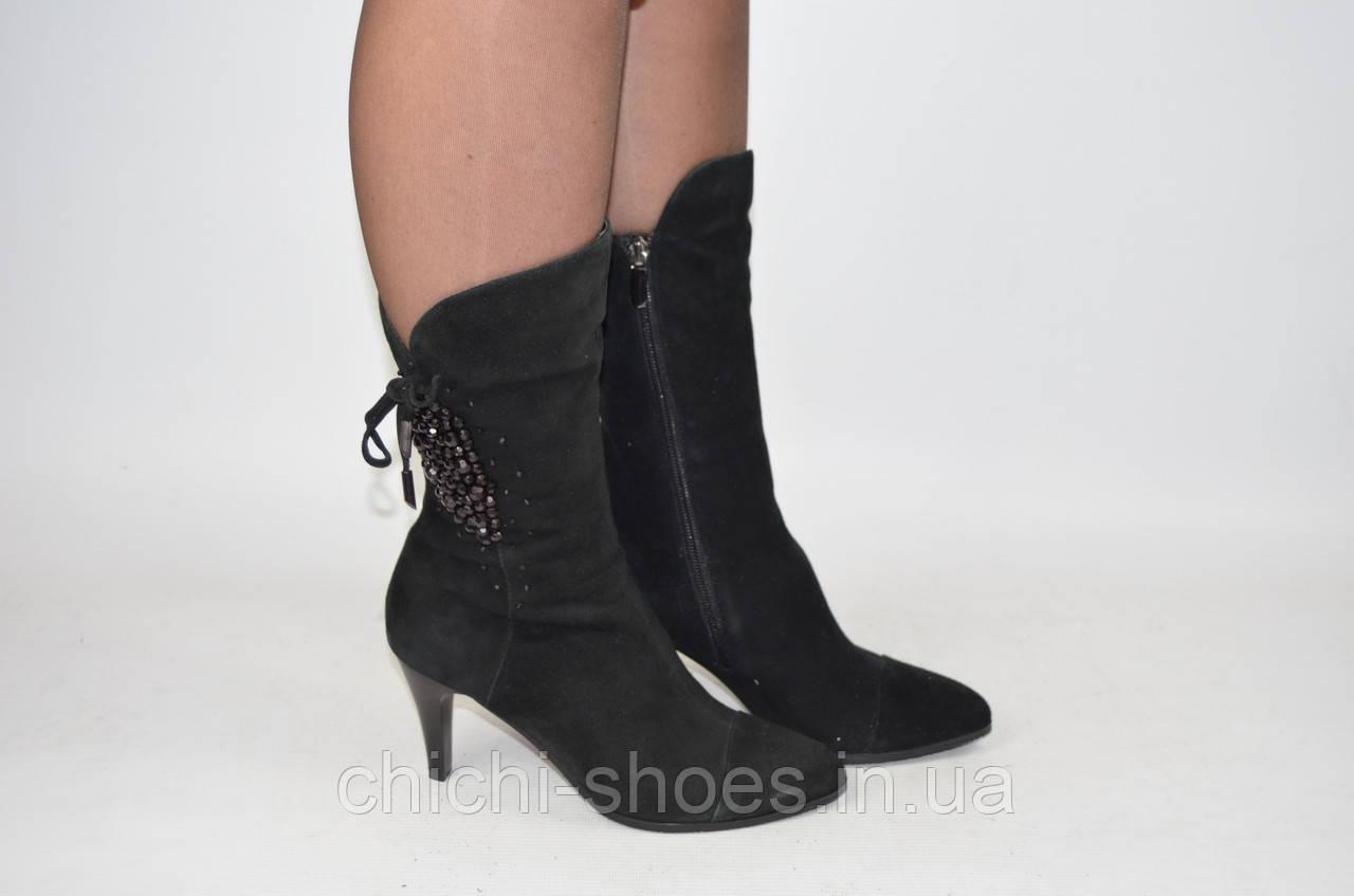 Ботильоны женские it Girl 304 чёрные замша каблук (последний 35 размер)
