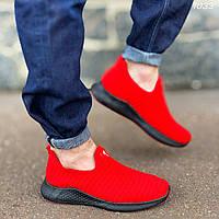 Кроссовки-носки красные мужские легкие текстильные на черной подошве без шнуровки