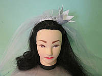 Фата для дівич-вечора з короною на обручі, 85 см. Пишна. Білий з сріблом