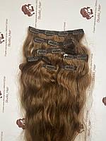 Натуральные волосы на заколках (Трессы): темно-русый 50см вьющиеся