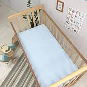 Простынь Маленькая Соня детская 60*120*13 см стандарт/овал поплин на резинке голубая клетка арт.1700341