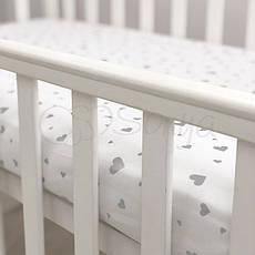 Простынь Маленькая Соня Shine детская 60*120*13 см стандарт/овал поплин на резинке серебро сердечки арт.1747368, фото 3