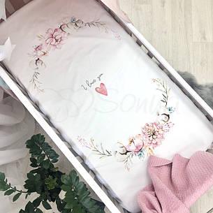 Простынь Маленькая Соня Heart and Flowers детская 60*120*13 см стандарт поплин на резинке арт.1780412, фото 2