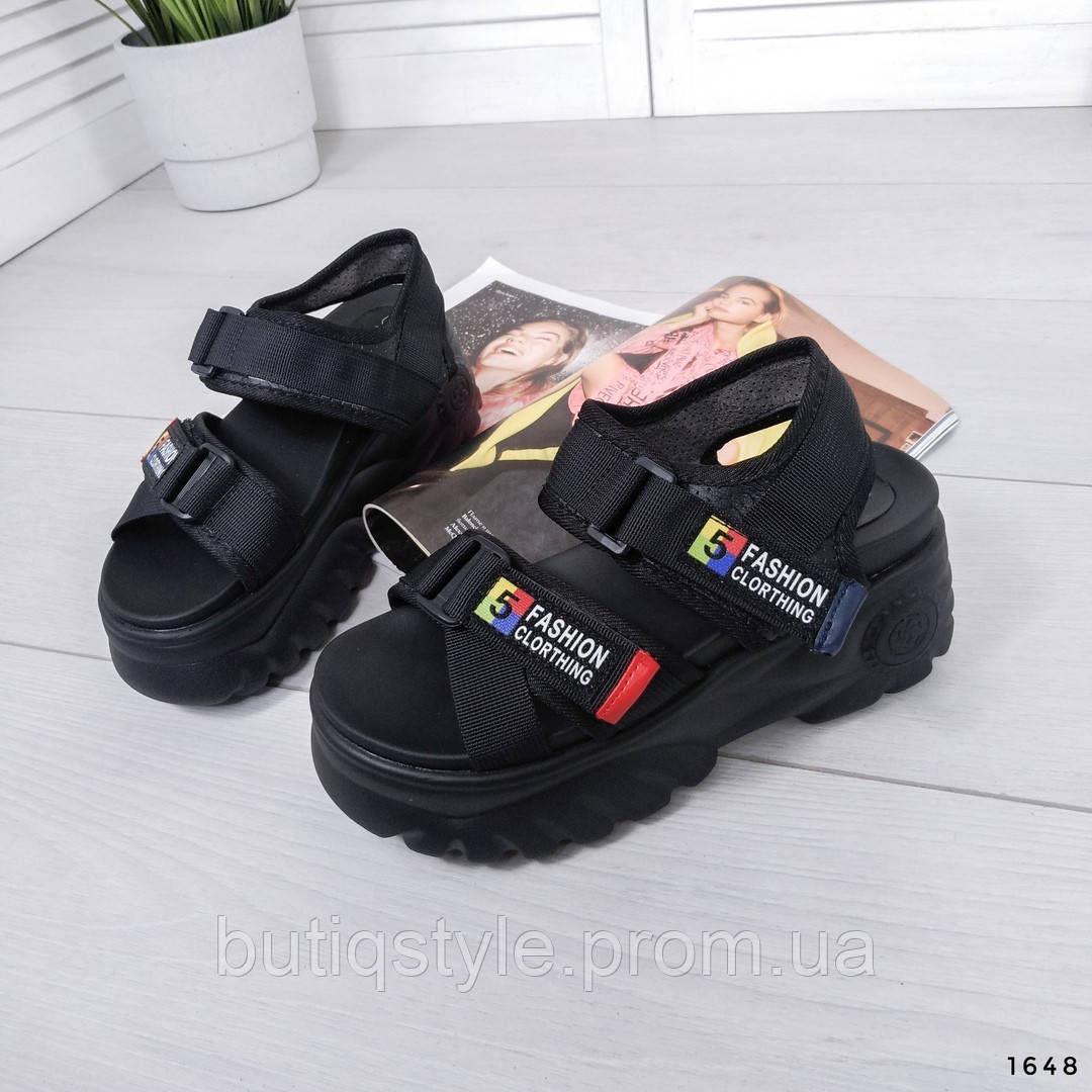 Женские черные босоножки обувной текстиль на платформе