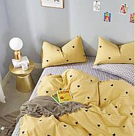 Шикарное сатиновое постельное белье (100% хлопок) с ярким принтом Желтое