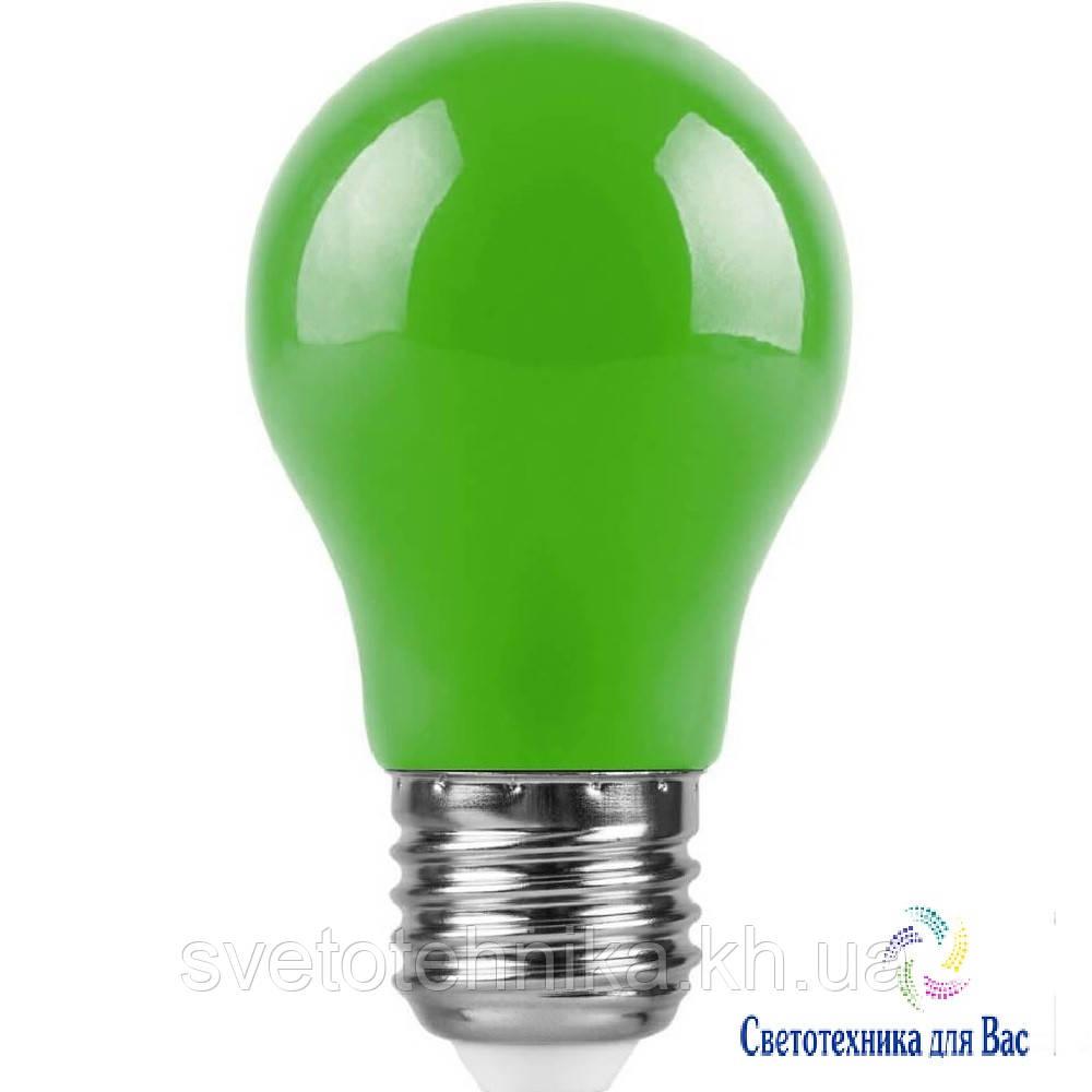 Светодиодная лампа Feron LB375 Е27 3W типа A50 зеленая для общего и декоративного освещения