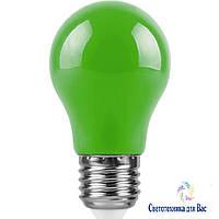 Светодиодная лампа Feron LB375 Е27 3W типа A50 зеленая для общего и декоративного освещения, фото 1