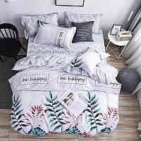 Шикарное сатиновое постельное белье (100% хлопок) с ярким принтом Разноцветные листья