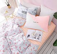 Шикарное сатиновое постельное белье (100% хлопок) с ярким принтом Маленькие фламинго