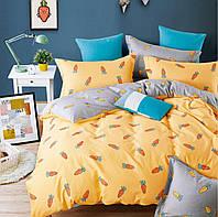 Шикарное сатиновое постельное белье (100% хлопок) с ярким принтом Морковка 2