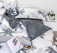 Шикарное сатиновое постельное белье (100% хлопок) с ярким принтом ЧБ Листья