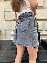 Джинсовая асимметричная юбка высокой посадки 42-48 р, фото 2