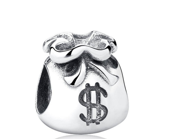 Подвеска шарм серебряная бусина денежный мешок для браслета Pandora Пандора