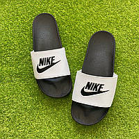 Мужские Шлепанцы/ Сланцы/ Тапки Nike Black and White -  Шлепки мужские Найк Черно-белые