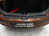 Пластиковая защитная накладка на задний бампер для Hyundai i20 Mk2 до-рестайлинг 2014-2018, фото 4