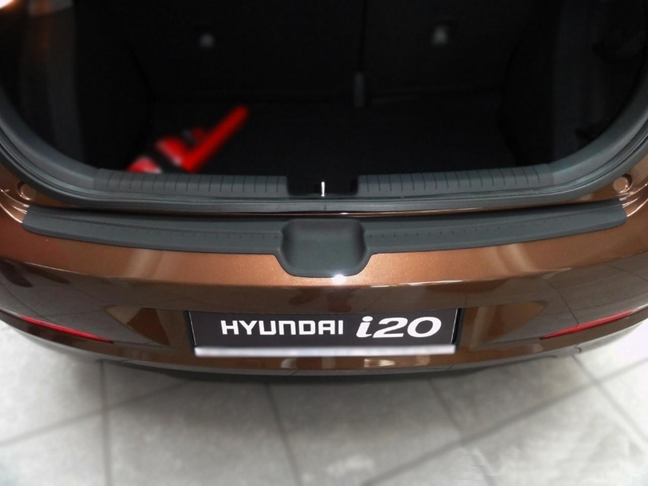 Пластикова захисна накладка на задній бампер для Hyundai i20 Mk2 до-рестайлінг 2014-2018, фото 4