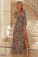 Леопардовое платье макси на запах