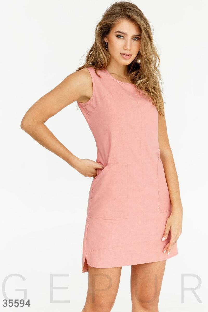Асимметричное летнее платье пудровое