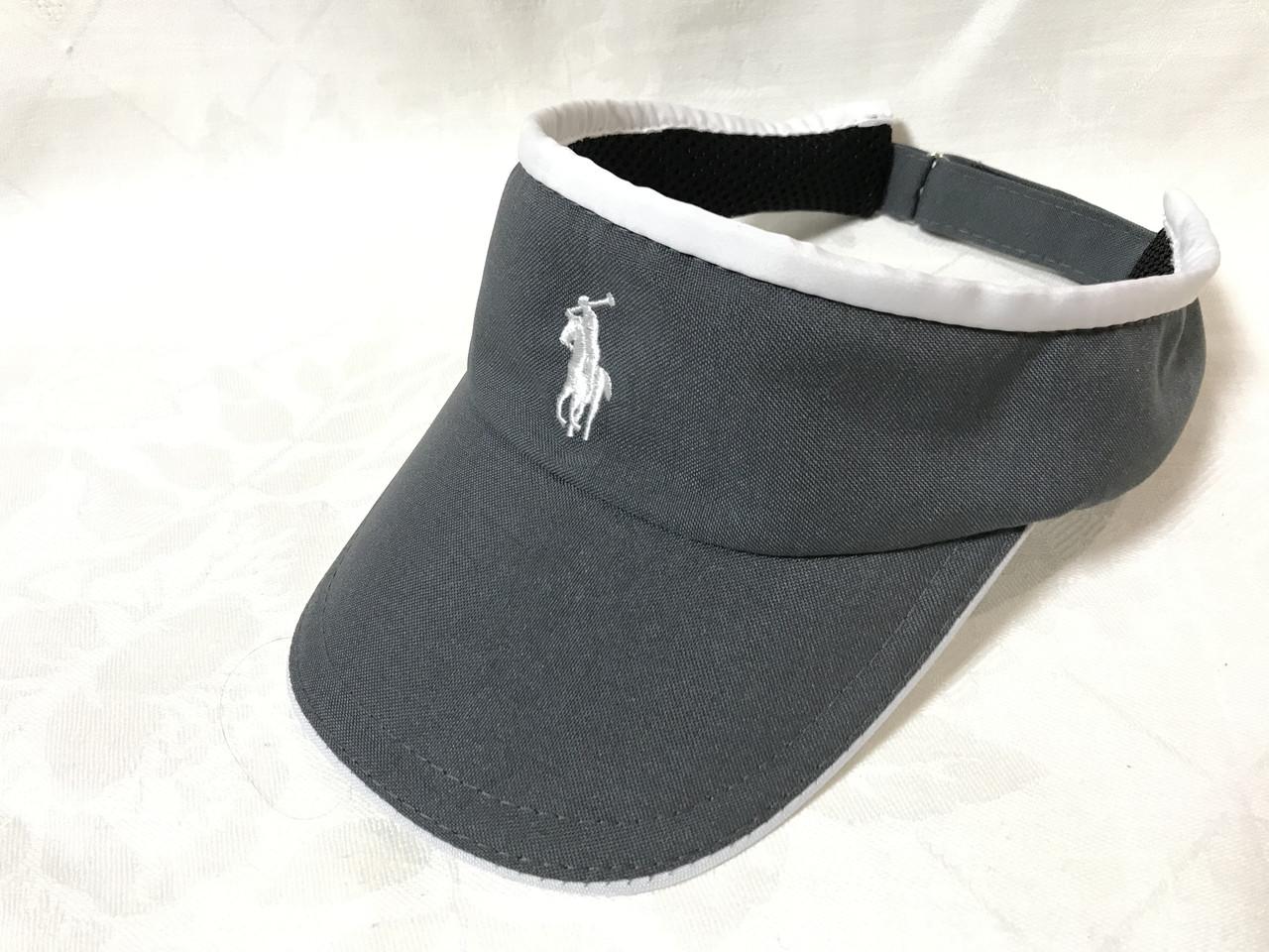 Тёмно серый козырек с белым кантом с брендовым логотипом