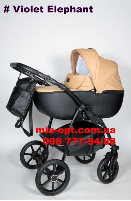Детская коляска 2 в 1 Classik (Классик) Victoria Gold эко кожа черная-беж