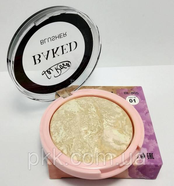 Румяна для лица LA ROSA BAKED BLUSHER одинарные запеченные матовые терракотовые 805-BL № 01 Бежево-коричневые