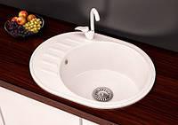 Кухонная овальная гранитная мойка Aqua + сифон ( белая ) 570/460/170