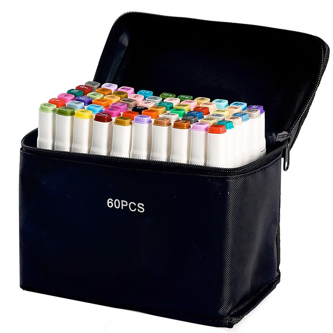 60 цветов! Набор двусторонних маркеров Touch для рисования и скетчинга на спиртовой основе  60 штук