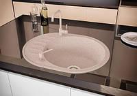 Кухонная овальная гранитная мойка Aqua + сифон ( бежевая ) 570/460/170