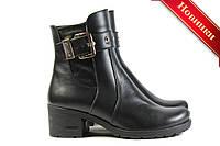 Женские кожаные ботинки на небольшом устойчивом каблуке