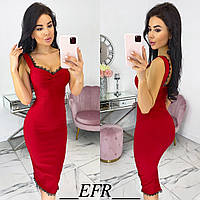 Женское Плаття Сарафан нарядное классическое  стрейч джинс черный бежевый бордовый красный желтый длина 110см