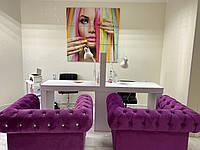 Кресло для салона красоты со стразами фиолетовое малиновое