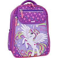 Школьный ортопедический рюкзак для девочки Bagland Единорог фиолетовый