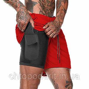 Спортивные шорты с карманом для телефона, мужские шорты-тайтсы красный Код 35-0073