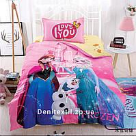 Детский комплект постельного белья Сатин 100% хлопок Холодное сердце / Ельза и Анна