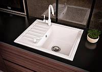 Кухонная прямоугольная гранитная мойка Aqua + сифон ( белая ) 555/450/170
