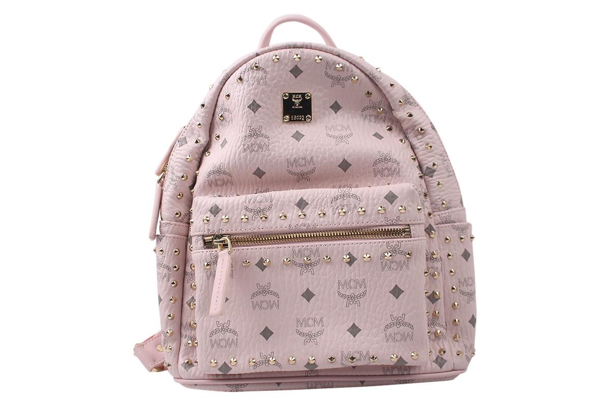 Сумка-рюкзак женская молодежная эко-кожа, цвет розовый