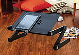 Столик для ноутбука розкладний Omax Т8 з охолодженням Чорний, фото 4