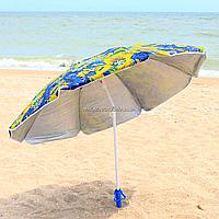 Зонт пляжный (диаметр - 1.8 м) - серебро+наклон цветы (MH-0035), фото 1