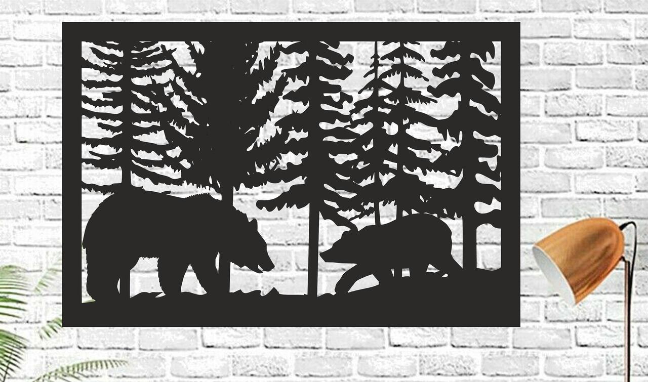 Картина панно из дерева Handmade Медведи 50х33см Черный (1149836431)