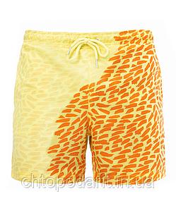 Шорты хамелеон для плавания, пляжные мужские спортивные шорты меняющие цвет жёлто-оранжевые с рисунком Код 26-0002