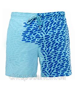 Шорты хамелеон для плавания, пляжные мужские спортивные шорты меняющие цвет Синий-Голубой с рисунком Код 26-0011
