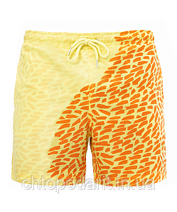 Шорты хамелеон для плавания, пляжные мужские спортивные меняющие цвет жёлтые с рисунком размер S код 26-0066