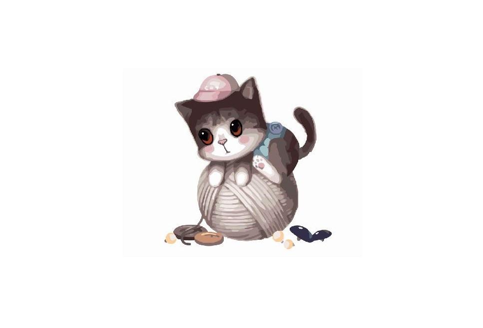Картина по номерам. Brushme  Маленький котик с клубком